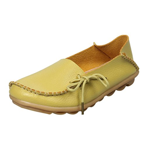 Women Loafers Shoes, SOMESUN Pattini di cuoio delle nuove donne dei mocassini Soft Leisure pattini casuali femminili Lemon