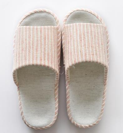 Autunno e pantofole di lino a righe apertura invernale, pantofole indoor uomini e donne coppia casa , female beige female orange