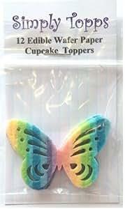 Décoration Gateau Motif Papillon Arc En Ciel Papier De Riz Comestible Lot x12