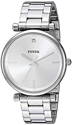 Fossil Carlie Reloj de Cuarzo para Mujer, de Acero Inoxidable, con Acento de Diamante