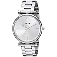 Fossil ES4440 Stainless Steel Diamond-accent Round analog Watch for Women - Silver