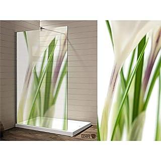 Interfoil Wasserdichte Folie für Ihre Dusche, florales dekor - Sichtschutz Duschabtrennung, hochwertiger Druck auf Glasdekor -Folie in Sandstrahl -Optik mit satinierten Oberfläche