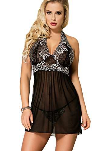 b7c213c50a MarysGift Womens Ladies Babydoll Lingerie Set Sexy Underwear Lace Nightwear  Plus Size UK 16 18