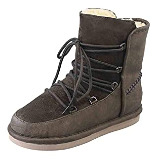 AmaMary Women Classic Winter Warm Velvet Comfy Lace Up Ankle Boots (4 UK, Army Green)