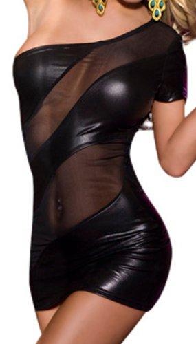 R-Dessous Partykleid schwarzes Mini Kleid erotische Dessous Groesse: L/XL (Schwarzes Dessous Mini-kleid)