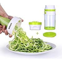 Cortador en espiral vegetal Sedhoom Cortador de Verduras de Gran Capacidad Spiralizer Manual Slicer 2 cuchillas Espiralizador vegetal de calabacín, espaguetis de verduras, zanahorias, verduras