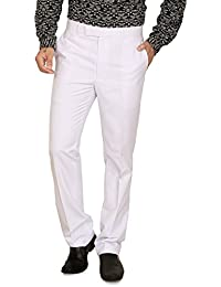 A.B.C. Garments White Cotton Viscose Formal Trousers For Men