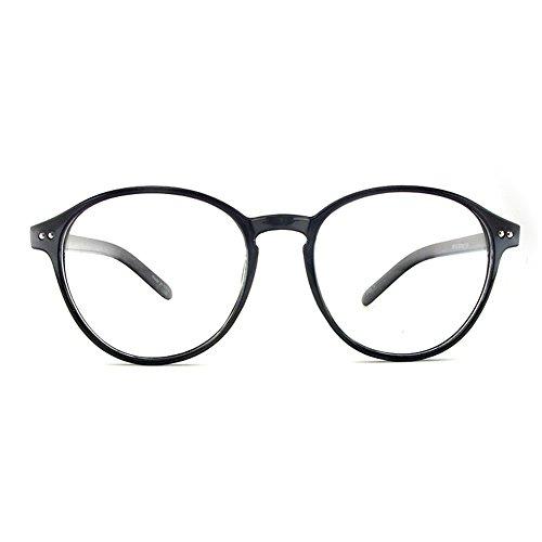 1920s Nerd Brille filigran rund Glasses Klarglas Hornbrille treber 88129 Black