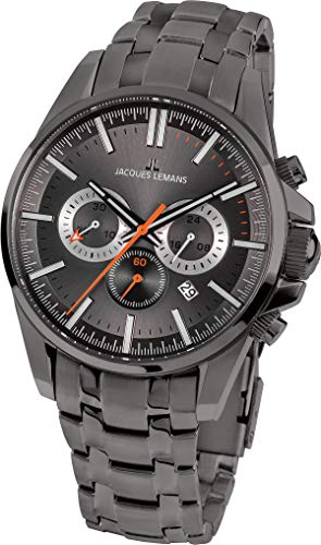 JACQUES LEMANS Herrenuhr Liverpool Metallband massiv Edelstahl IP-Grey Chronograph 1-1799P
