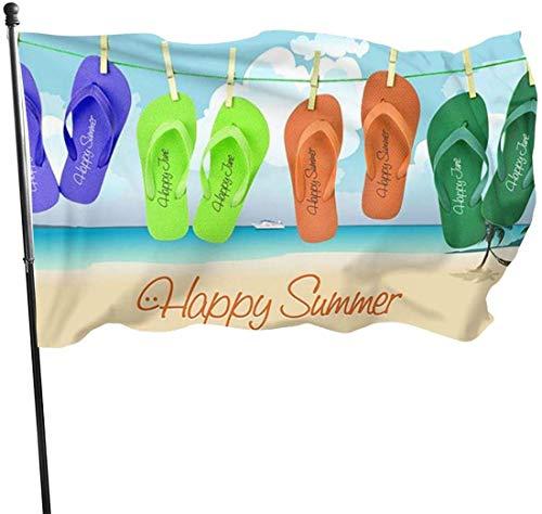 Summer Flip Flop Hintergrund Dekorative Garten-Flagge, Outdoor Kunstfahne für Haus, Garten, Hof, Dekoration, 91 x 152 cm