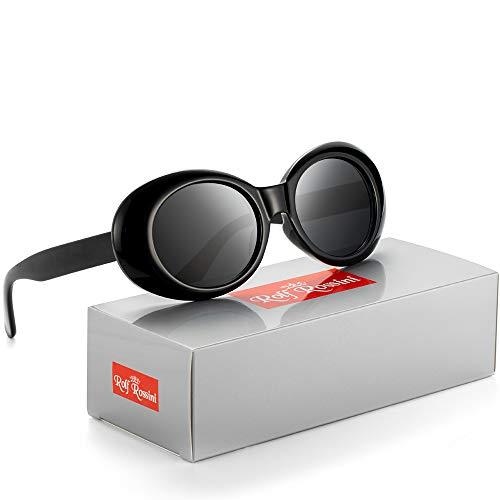 Rocf Rossini Oval Gafas de sol Vintage mujeres hombres Kurt Cobain Retro Shades Protección UV400 Blanco Candy Color Full Frame (Negro/Gris)