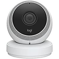 Logitech Circle - Cámara de seguridad inalámbrica (vídeo 1080p, alimentación por batería, detección de personas, zonas de movimiento, alertas personalizadas), blanco