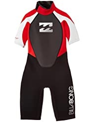 Billabong JUNIOR Intruder 2mm Back Zip Shorty in Black/Red/White S42B08 Sizes- - 14 Years