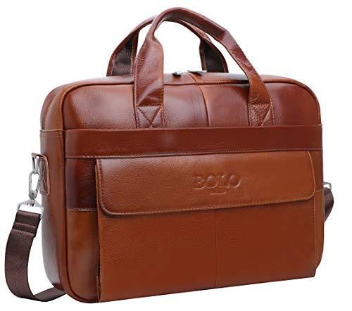 BOLO 13 14 Zoll Laptop Aktentasche Handarbeit Leder Aktentasche Business-Schulter Business-Tasche für Computer (Rotbraun-BP)