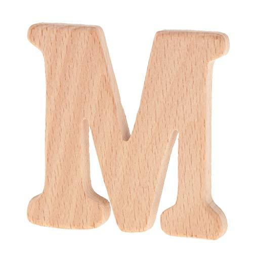 P PRETTYIA hölzerne Buchstaben Holz Beißring Spielzeug Buchstaben Formen DIY Holz Beißring Kit - M