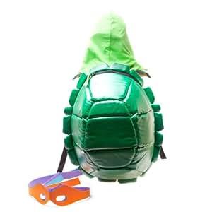 Teenage Mutant Ninja Turtles Children's Backpack Hooded Turtle Shell Shield With Masks  Green BIO-BP046WTMT