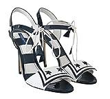 Dolce & Gabbana - Damen Sandalen - Blau Weiss - Blue White Leather Sandals Marina Shoes Shoe Size EU37.5/US7