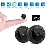 Mini Kamera,VISGOGO Full HD 1080P Tragbare Kleine Überwachungskamera, Überwachungskamera mit Bewegungserkennung und Infrarot Nachtsicht Compact Sicherheit Kamera für Innen und Aussen(Mit 32G TF Karte)