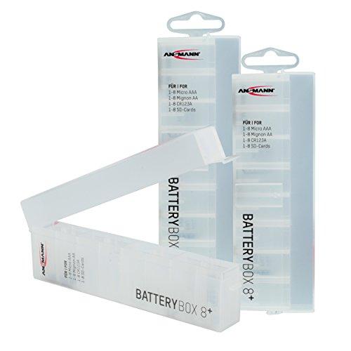 für AAA Micro, AA Mignon Akkus & Batterien, Spezialbatterien & Speicherkarten - Akkubox zum Schutz & Transport für 8 Accus - Batterie Box & Akku Box zur Aufbewahrung - 3 Stück ()