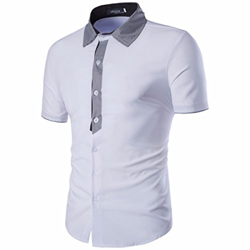 Men's Turn Down Collar Button Short Sleeve Dress Shirts white