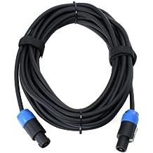 Pronomic - Cable para altavoz (compatible con conector speakon, resistente al ácido y al aceite, pinza de apriete-brida antitracción)