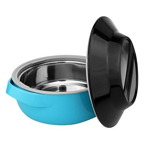 WELLGRO 1500 ml Thermoschüssel inkl. Deckel - mikrowellengeeignet, mit Edelstahleinsatz, türkis/schwarz, Kunststoff