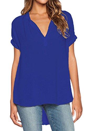 smile-ykk-mujeres-alta-baja-v-cuello-camiseta-de-manga-corta-gasa-blusa-top-azul-azul-xxxx-large