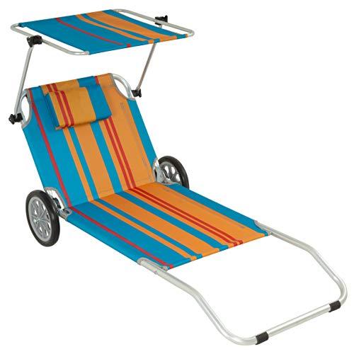Nexos Gartenliege Sonnenliege Liegestuhl Klappliege mit Rädern und Sonnendach klappbare Liege aus Alu und Polyester - Bespannung bunt - Gestell grau