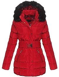 340092ebfdee77 OSAB-Fashion 5075 Damen Steppjacke Steppmantel Winter Jacke Stehkragen  Kapuze Webpelz Gürtel