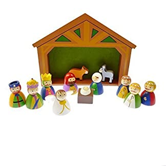 Para ropa de niños Belén de Navidad dentro de diseño de madera tornillo central Crucifijo juego de 12 piezas de Navidad