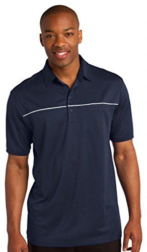 sport-tek Herren Verhakungsfreies Paspel Polo Shirt True Navy/ White