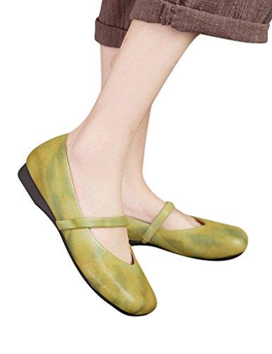 Youlee Femmes Printemps Fait Main Cuir Appartement Chaussures Jaune