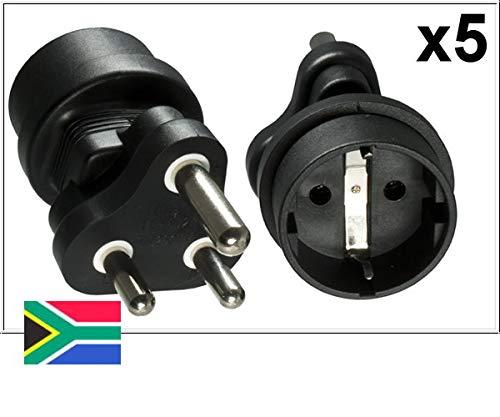 DINIC Reisestecker, Stromadapter für Südafrika und Indien auf Schutzkontakt-Buchse, Netzadapter 3-polig (5 Stück, schwarz)