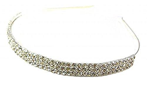 fashionjewellery4u 3Reihe Silber Ton Kristall mit Kopfband Haar Haarreif Tiara Hochzeit Brautschmuck Brautjungfer Zubehör