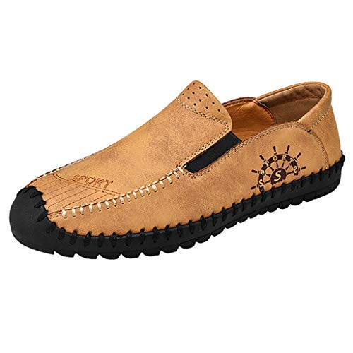 KonJin Men Leather Non-Slip Shoes Comfy Lightweight Round Toe Shoes Leather Loafer Flats Moccasins Wider Walking Business Shoes Slip-resistant Steel Toe Oxfords