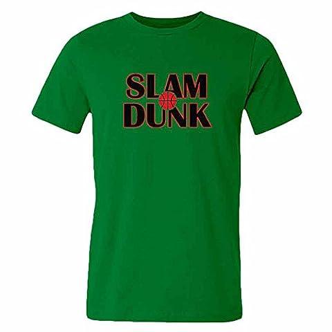 Simple design-SLAM DUNK Cotton green T-shirt for Men-S