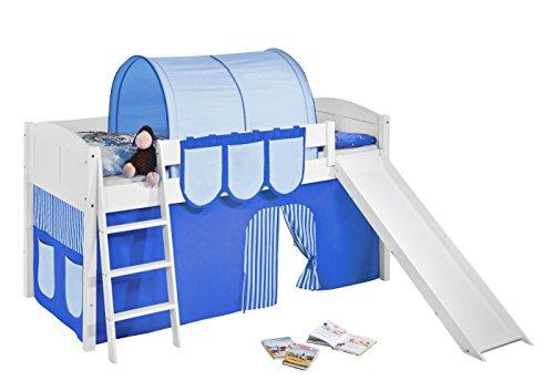 Lilokids Spielbett IDA 4106 Blau-Teilbares Systemhochbett weiß-mit Rutsche und Vorhang Kinderbett, Holz, 208 x 220 x 113 cm