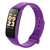 KLE Smart Armband Herzfrequenz Schlaf Überwachung Bluetooth Schrittzähler Sport Armband Smart Watch (Farbe : Purple)