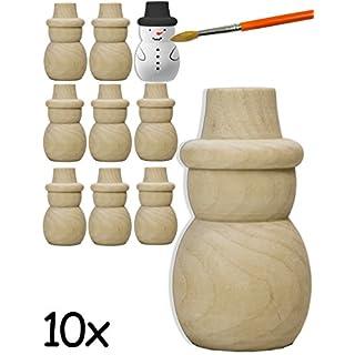 HOMETOOLS.EU® - 10x Holz-Figuren Schneemänner | gedrechselte Echtholz Rohlinge zum Basteln, Bemalen, Bekleben | Deko, Schneemann, 5 x 2,6cm, 10er SET