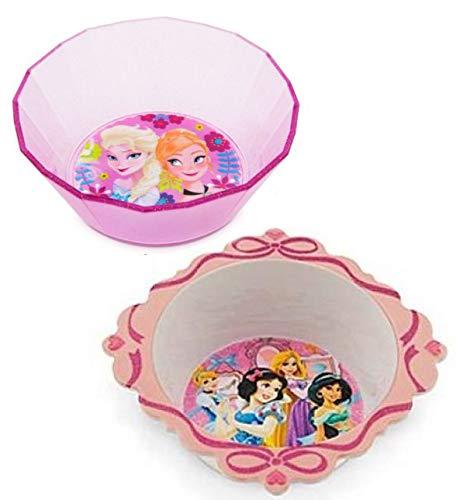 Disney Schüssel-Set mit 2 Schüsseln, Disney Prinzessinnen-Motiv, Schneewittchen, Rapunzel, Jasmin und Tiana und eine Schüssel von Anna und Elsa Coupe Cereal Bowl
