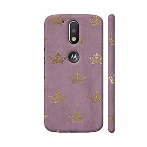 Colorpur Moto G4 Plus Logo Cut Cover - Gold Crowns On Lilac Printed Back Case
