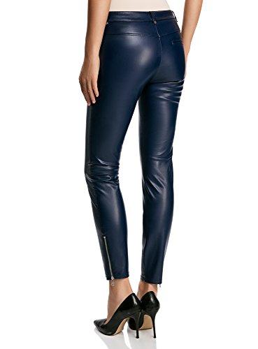 oodji Ultra Damen Enge Hose mit Reißverschluss Blau (7900N)