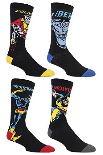 SockShop Herren 4 Paar Marvel X-Men Wolverine, Beast, Cyclops und Colossus Socken aus Baumwolle 7-12 Multi