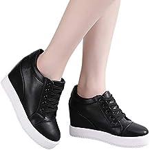 SOIXANTE Chaussure Mode Baskets Dentelle Femme Sneaker Talon Compensé 7 CM 70a2614bed26