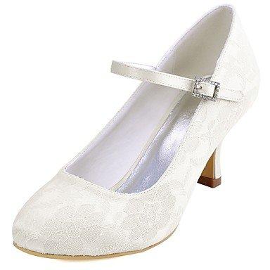 Rtry Zapatos De Mujer Wedding Pump Base Satin Stretch Spring Fall Wedding Party & Amp; Sera Crystal Stiletto Heel White Marfil 2a-2 3 / 4en Us8 / Eu39 / Uk6 / Cn39