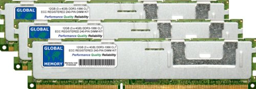 GLOBAL MEMORY 12 GB (3 x 4 GB) DDR3 1066 MHz PC3-8500 240-PIN ECC Registered DIMM (RDIMM) Arbeitsspeicher Kit für Servers/WORKSTATIONS/MAINBOARDS (12 RANK KIT Non-chipkill) -