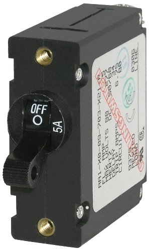 Blue Sea Systems A-Serie Toggle Single Pole Circuit Breakers, schwarz, 5 Amp - 5a Single