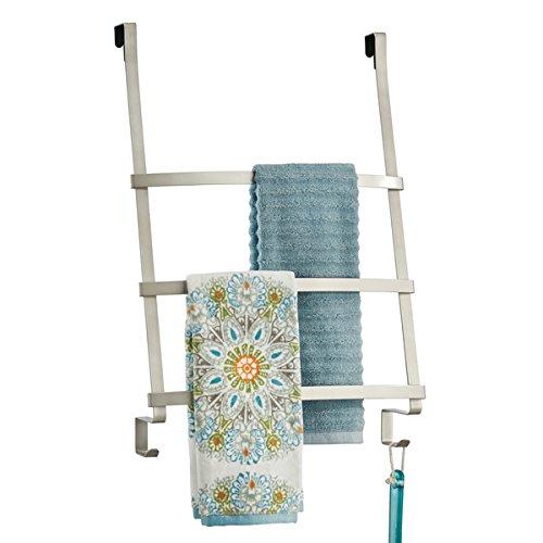 mDesign Türgarderobe - Handtuchhalter ohne Bohren für das Bad - mit 3 Stangen und Haken für Handtücher und Lappen - auch als Flurgarderobe geeignet - satiniert