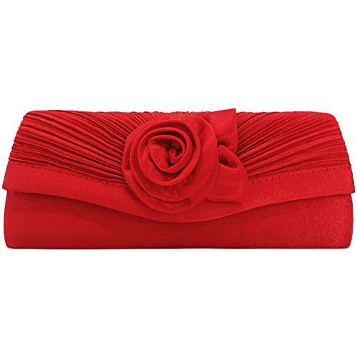 Tavie Carteras De Mano De Mujer Bolso Satén Flor Rosa Clutch Noche Boda Hombro Cruzado Embragues Billetera Cuerpo Cruzado Bolsas Para Baile Fiesta Novia Mujer Damas Niñas Dama De Honor Rojo