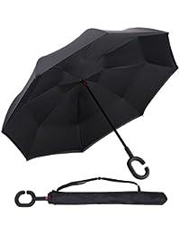 Parapluie, ZOQI UV parapluie inversé, double parapluie pare-vent béquilles couche, C-mains en forme de mains libres inversée droite parapluie pour stationnement extérieur, idéal pour la voiture et Voyage, la conception inversée (Nero)